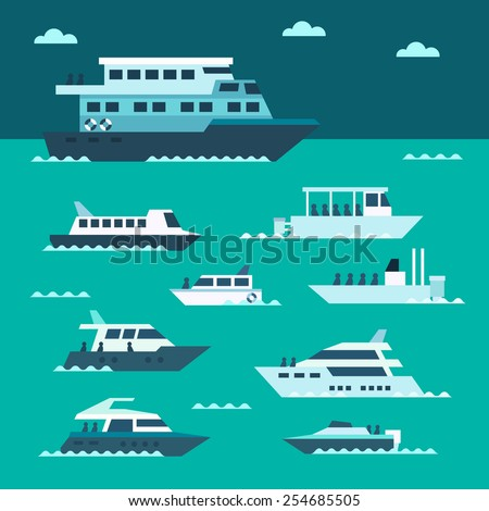Flat design of boat set illustration vector - stock vector
