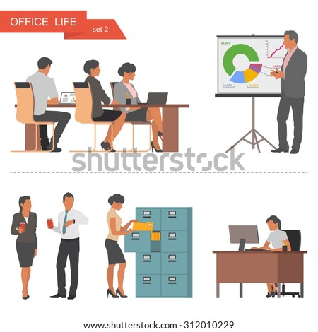 Flat design of business people or office workers. People talking and working at the computers. Business presentation and meeting. Vector illustration isolated on white background. - stock vector