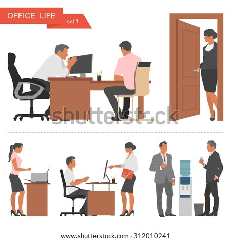 Flat design of business people or office workers. People talking and working at the computers. Coffee break near cooler. Vector illustration isolated on white background. - stock vector