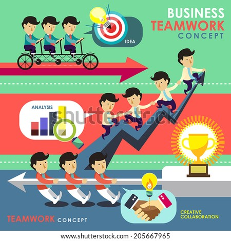 flat design of business teamwork concept topic  - stock vector