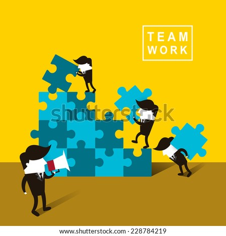 flat design of businessmen team work over yellow background - stock vector