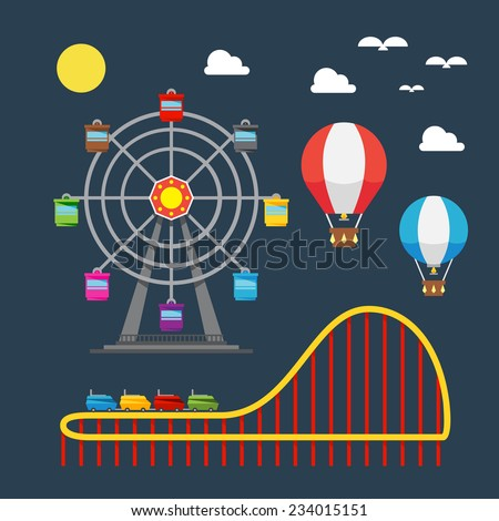 Flat design of carnival festival illustration vector - stock vector