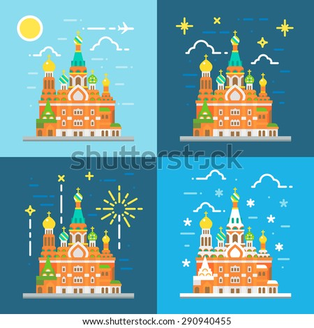 Flat design of church of the savior on blood Russia illustration vector - stock vector