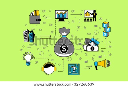 Flat design of internet banking transaction, secure money, financial business solutions. Vector illustration concept isolated on blue background.