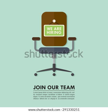 Flat design of job hiring for designer, programmer, or for other profession. Wording We Are Hiring on chair. Vector illustration. - stock vector