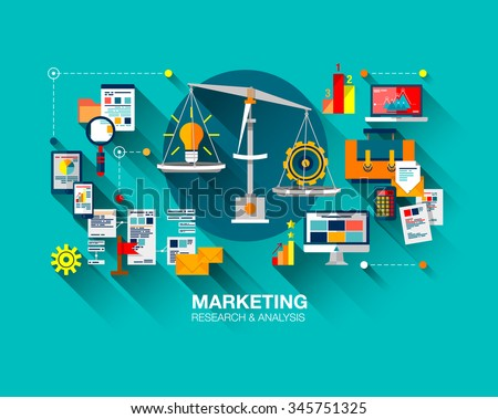 Flat design of marketing research strategy, web business analytics, finance data analysis. Modern vector illustration concept for website or infographics with icons and balance pan with idea
