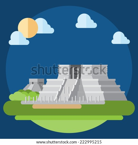 Flat design of Mayan building illustration vector - stock vector