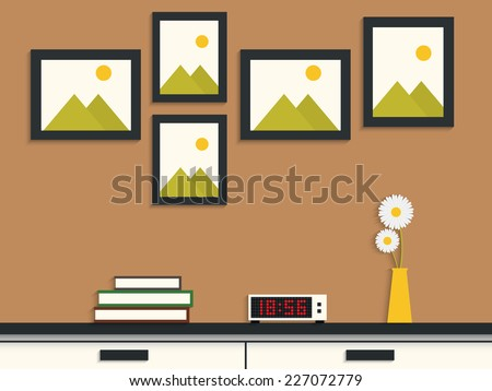 Flat design of modern picture frame on wall - stock vector