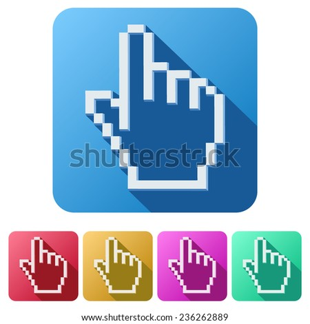 Flat design of Pixel cursor icon click mouse hand. Vector Illustration