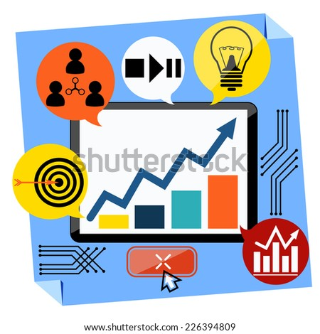 Flat design of presentation business development concept from good idea to successful startup. Monitor with chart graph - stock vector