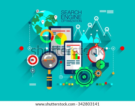 Flat design of search engine optimization service, SEO data analytics and keyword process. Modern vector illustration concept for website or infographics with icons of technique and graphics
