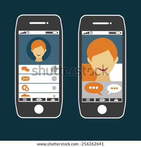 flat design of smart phone application with young man face - stock vector
