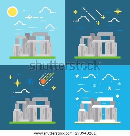 Flat design of Stonehenge UK illustration vector - stock vector
