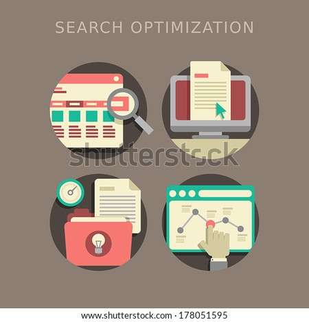 flat design of the SEO website searching optimization process - stock vector