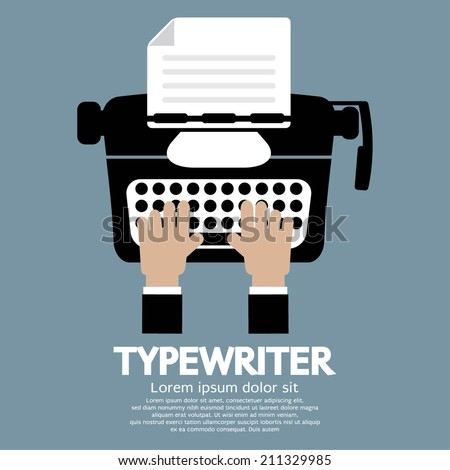 Flat Design of Typewriter The Classic Typing Machine - stock vector