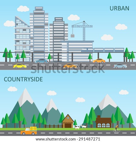 flat design of urban and countryside landscape background, big and small city. Can be used for cover page, business infographics element, web design, brochure template. vector illustration - stock vector