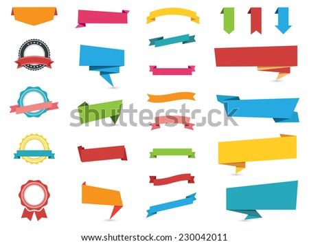 Flat design of web stickers tags banners and labels collection web stickers