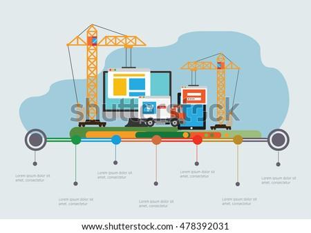 flat design website under construction webのベクター画像素材