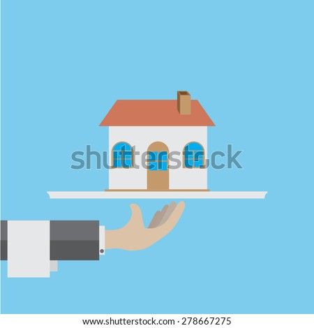 flat design on hand holding with housing - stock vector