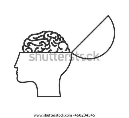 flat design open human head and brain icon vector illustration