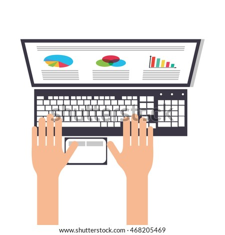 flat design person using laptop topview icon vector illustration