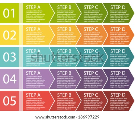 Flat design. Process arrows boxes. Step by step vector set. Four steps.  - stock vector