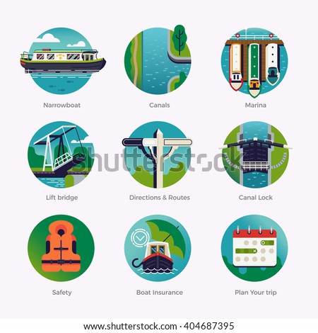 Flat design quality round web icons set on canal boat, narrowboat, boating holidays weekend touring. Hiring narrowboat for rent. Waterway travel. British traditional stern narrowboat recreation - stock vector