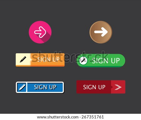 flat design rectangle and round sign-up button collection set for websites and mobile apps - stock vector