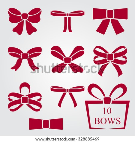 Flat design red bow shapes vector set. - stock vector