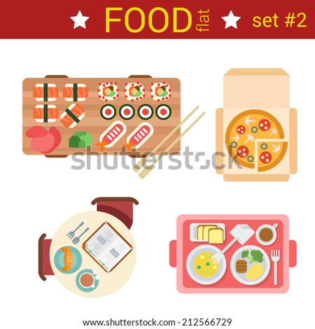 Flat design restaurant food dishes vector top view dish set. Sushi rolls, pizza, breakfast croissant, omelet, steak dinner. - stock vector