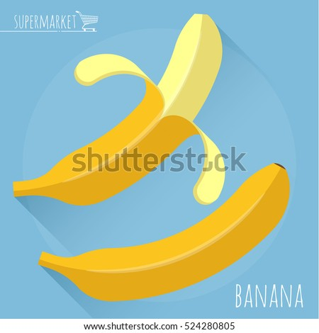 Flat design ripe fresh opened  banana vector icon with long shadow