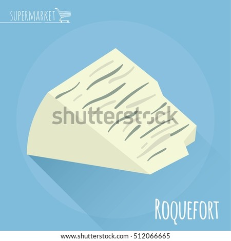 Flat design Roquefort cheese vector icon  on light blue background with long shadow