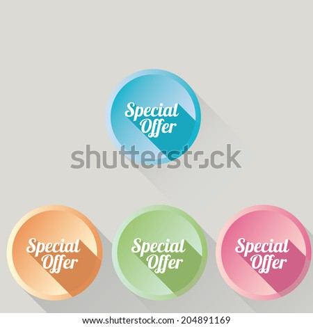 Flat design sale discount Special offer button with long shadow, 8 EPS. vector illustration
