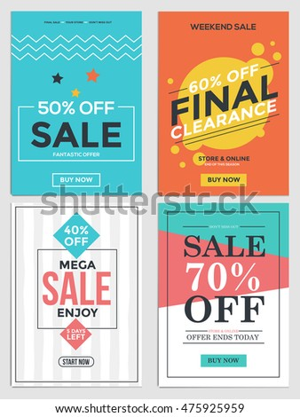 Flat Design Sale Flyer Template for websites and mobile websites. Can be used For Posters, Web Banners, promotion materials. Vector