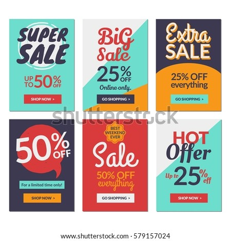 flat design sale website banners mobile stock vector royalty free