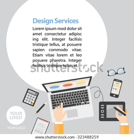 Flat Design Services Advertising vector - stock vector