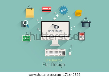 Flat Design Set.  Communication, Computer, internet shopping elements. Vector - stock vector