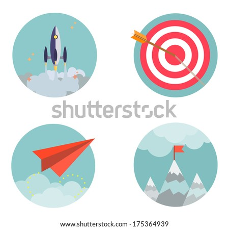 Flat design set icons Start up Business development success result strategy concept  vector illustration - stock vector