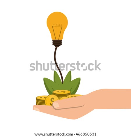 flat design shelter hand with plant money lightbulb idea icon vector illustration