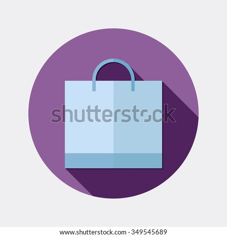 Flat design shopping bag icon with long shadow