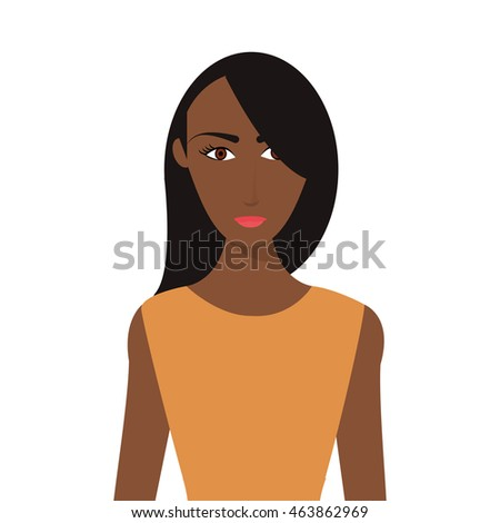 flat design single woman icon vector illustration
