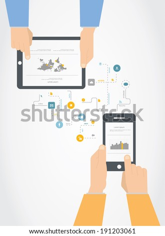 Flat design smartphone and tablet communication concept infographic - stock vector