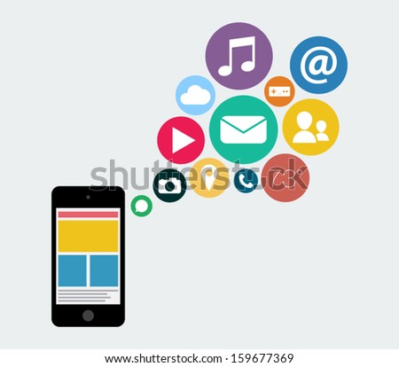 Flat design smartphone device icon with applications elements illustration for websites, background or business design - stock vector