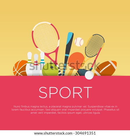 Flat design sport concept. Sports equipment background. - stock vector