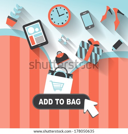 flat design style concept of add to bag - stock vector