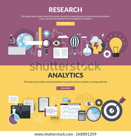 Flat design style concepts for research process, workflow scheme, product development and management, business, analytics, strategy, planning. Concepts for website banners and printed materials.     - stock vector
