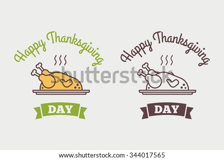 Flat design style Happy Thanksgiving Day logotype, badge and icon. Happy Thanksgiving Day logo template. Happy Thanksgiving banner, flyer. Thanksgiving Day card template. - stock vector
