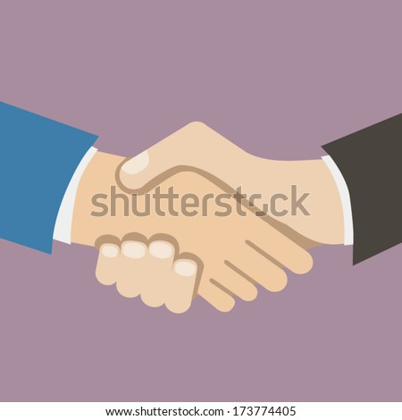 Flat Design Style Icon Businessman partnership handshake vector