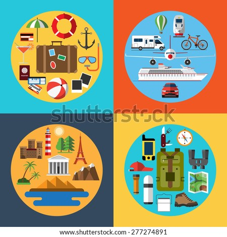 Flat design style icons set of traveling, tourism, hiking. Holidays and vacation. Travel equipment and transport. Tourist attractions. Passenger luggage. Vector illustration - stock vector