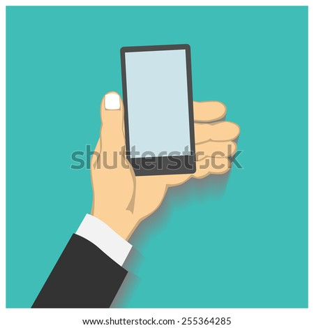 Flat design style illustration. Business hand holding smart phone. Isolated on green background - stock vector